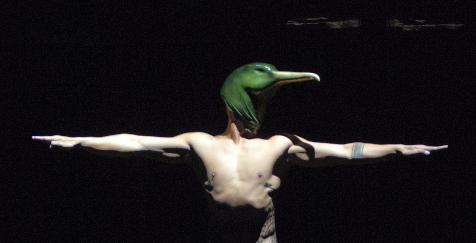 Een danser met vogelkop uit &#039;&#039;Birds with Skymirrors&#039;&#039;. Foto Sebastian Bolesch.