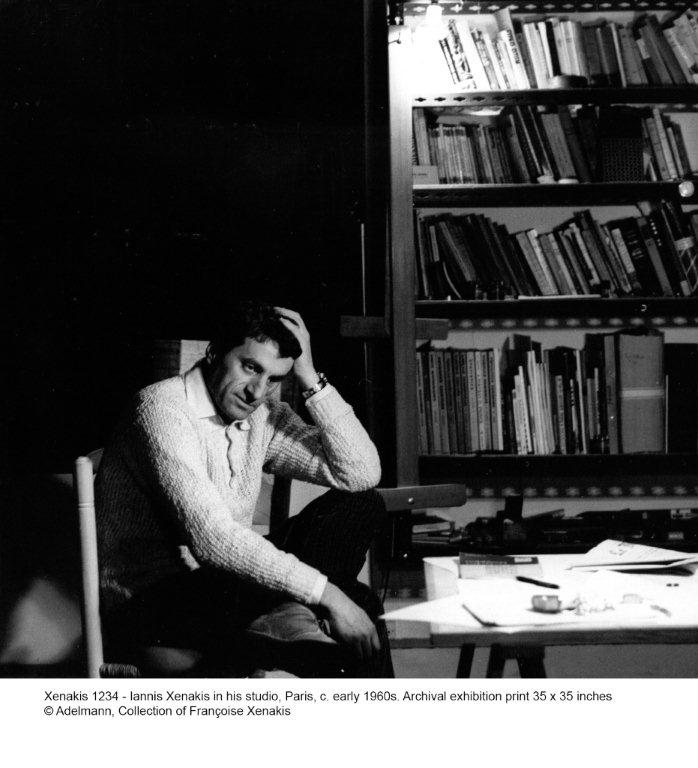 Xenakis 1234 - Iannis Xenakis in his studio 