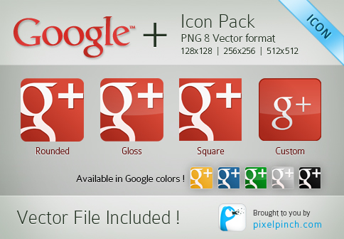 New-Red-Google-Plus-or-Page-Vector-Icon-Pack